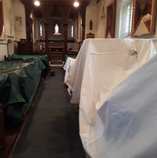 Drying the gazebos in church