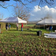 Setting up the gazebos for the Carol Service 1