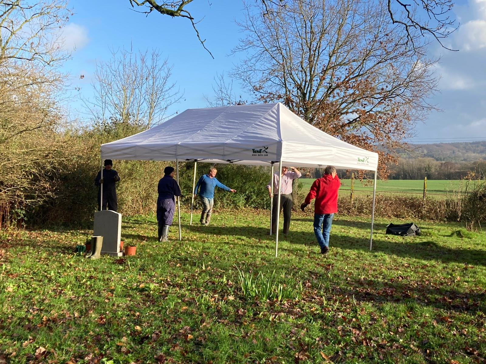 Setting up the gazebos for the Carol Service 2